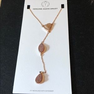 Jewelry - New Agate Druzy rose gold lariat stone necklace
